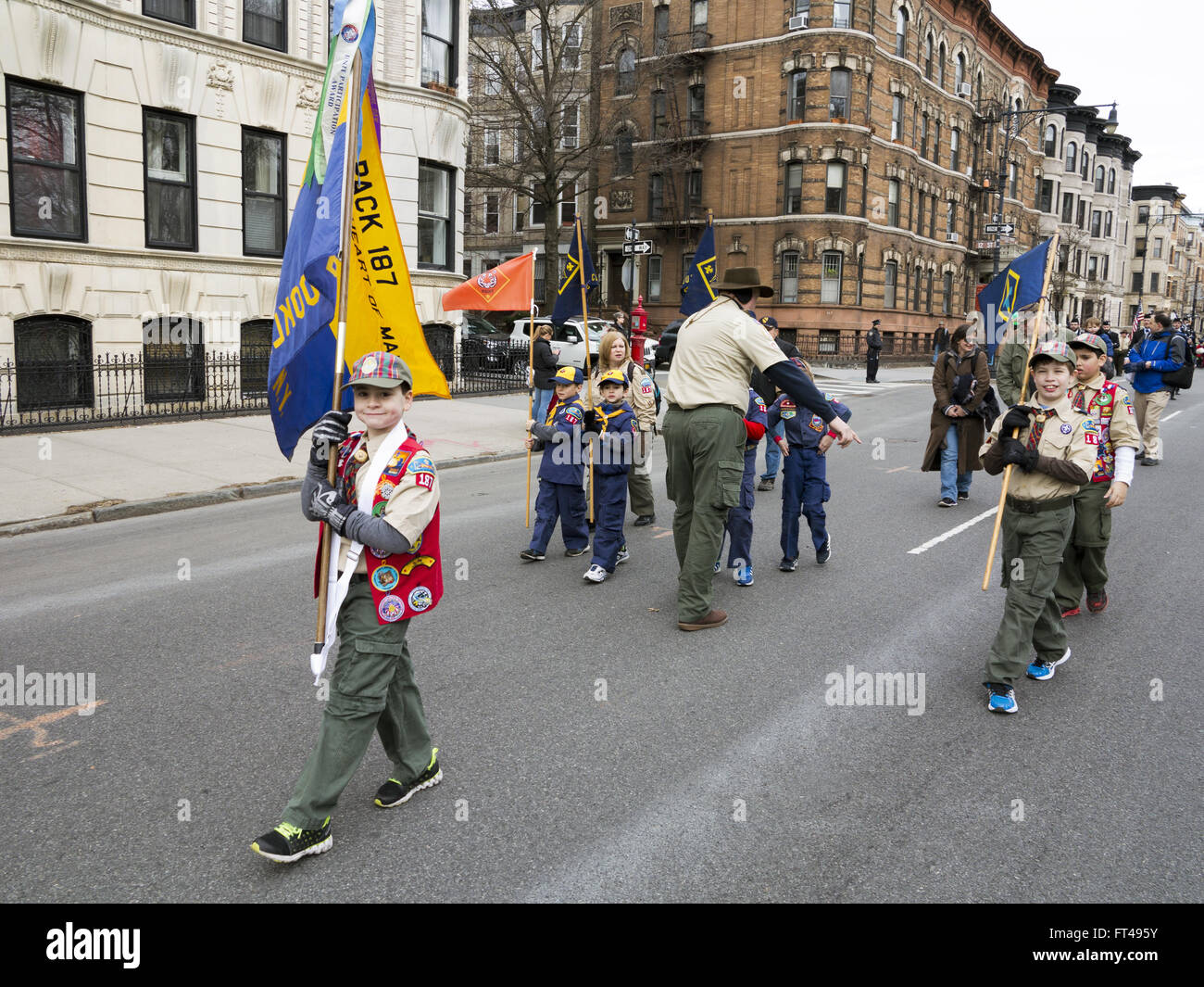 Boy Scout troop at St.Patrick's Day Parade in the Park Slope neighborhood of Brooklyn, New York, 2016. - Stock Image