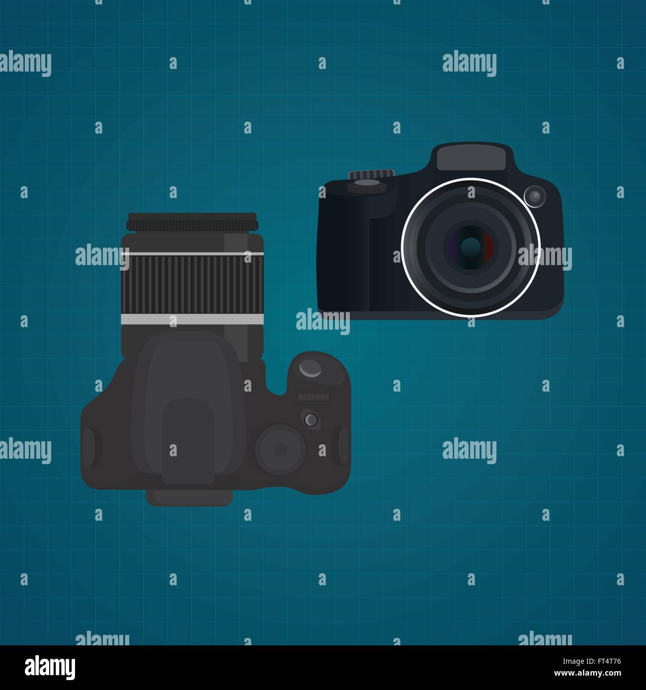 camera slr dslr vector illustration from front and top view - Stock Vector