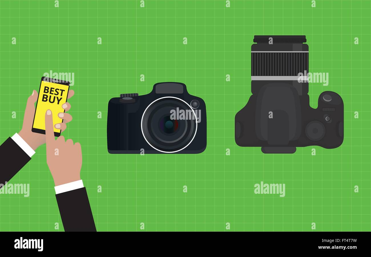 choose and buy the best camera slr - Stock Vector