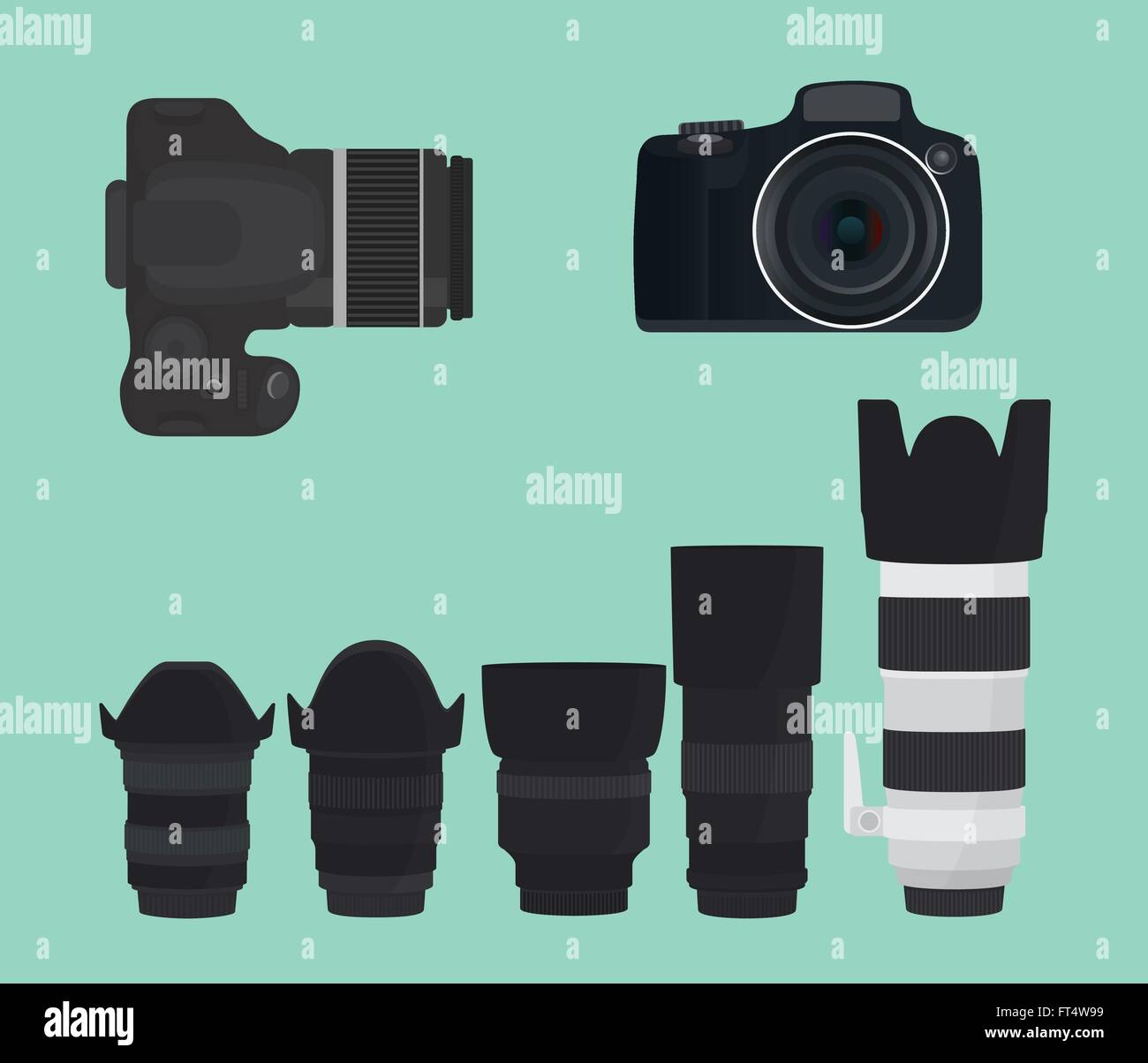 slr dslr camera collection with lens - Stock Vector