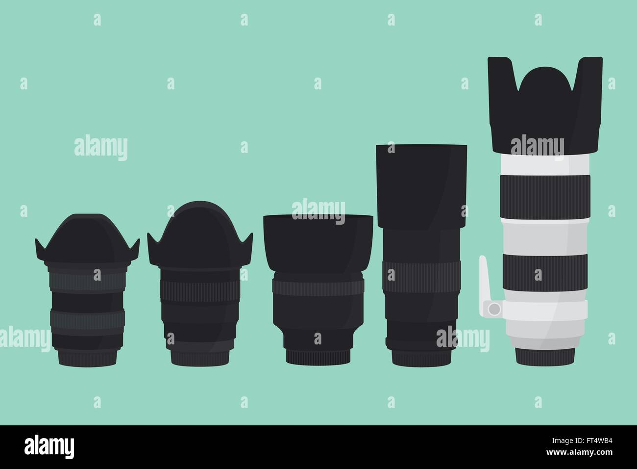 camera lens slr collection with flat style - Stock Vector