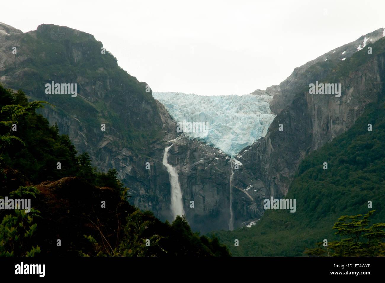 Hanging Glacier - Queulat National Park - Chile - Stock Image