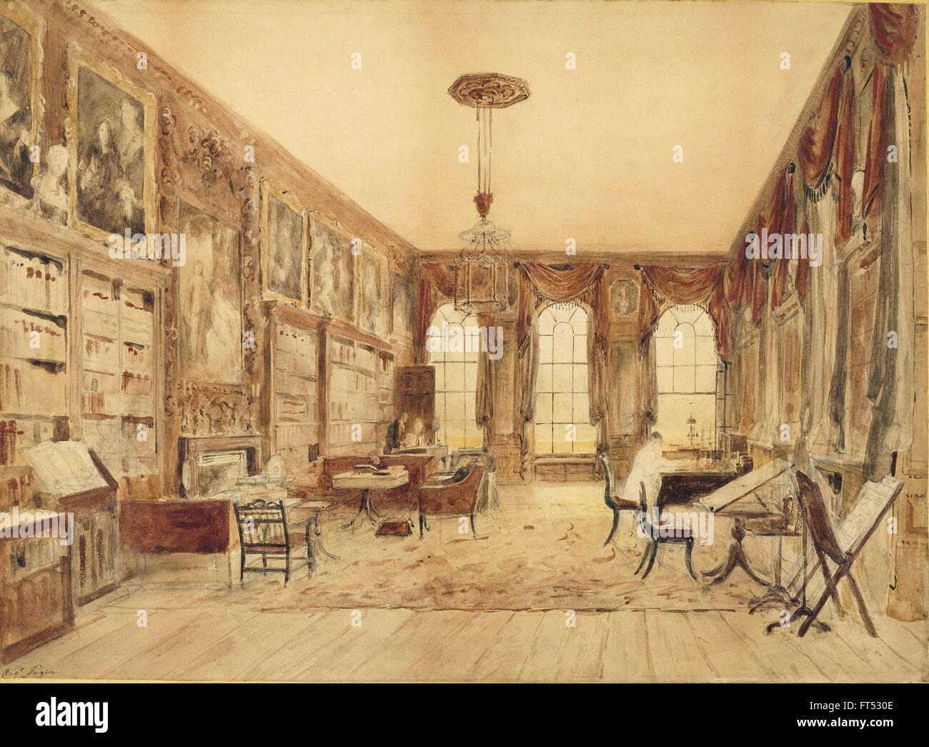Augustus Charles Pugin - The Interior of the Library at Cassiobury - Cooper-Hewitt, National Design Museum - Stock Image