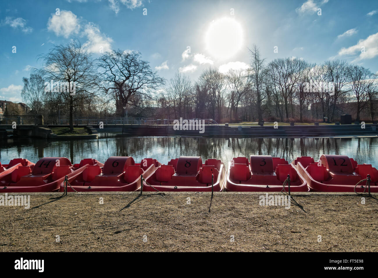 Pedal punts in Odense river, Denmark - Stock Image