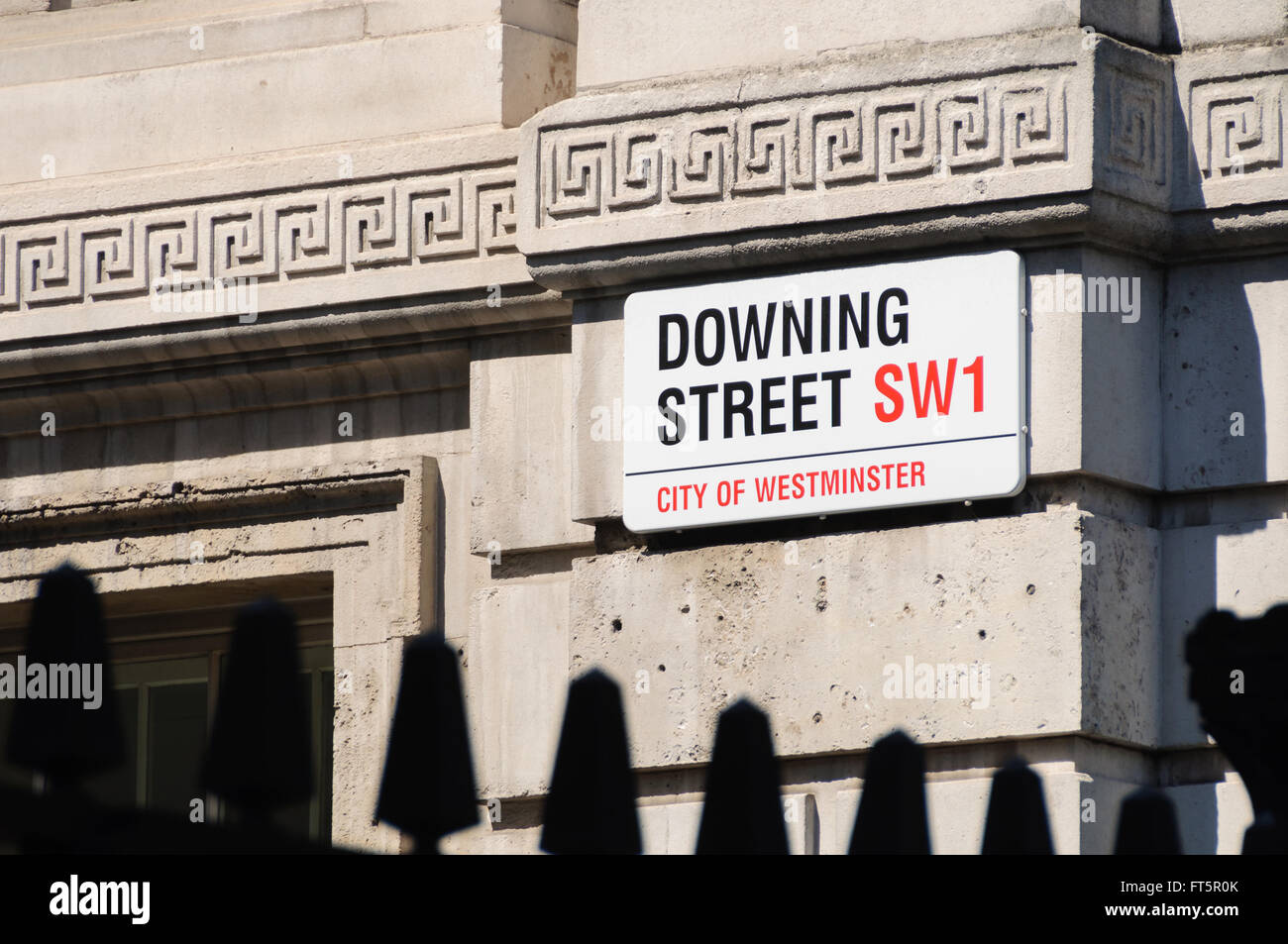 Downing Street sign in London, UK - Stock Image