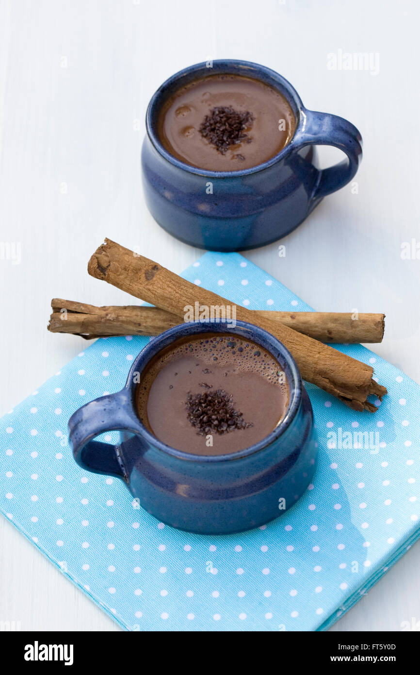 Hot cinnamon chocolate. - Stock Image