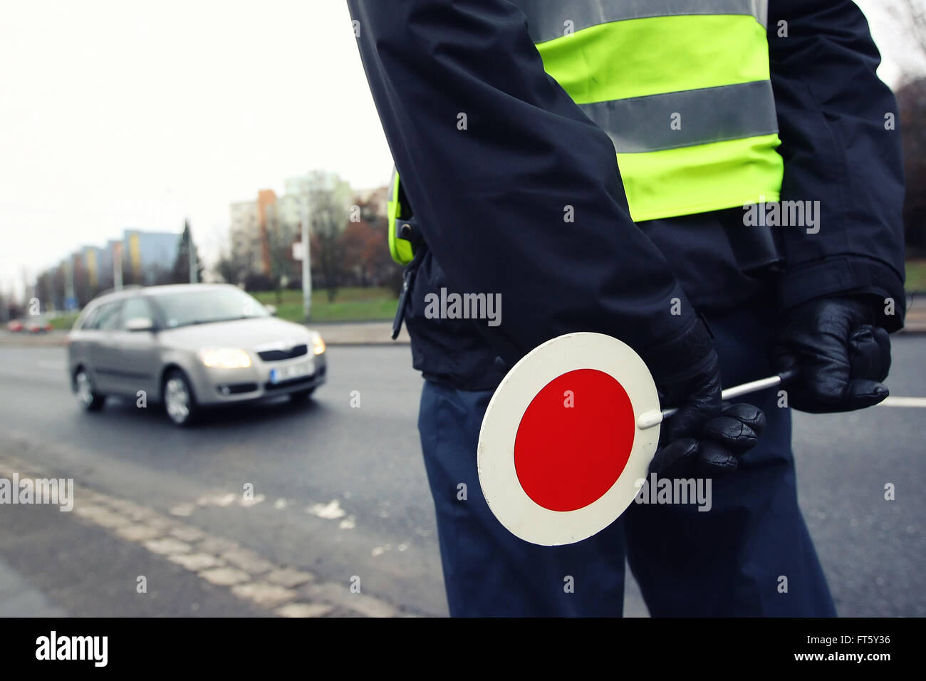 A police man checking the traffic - Stock Image
