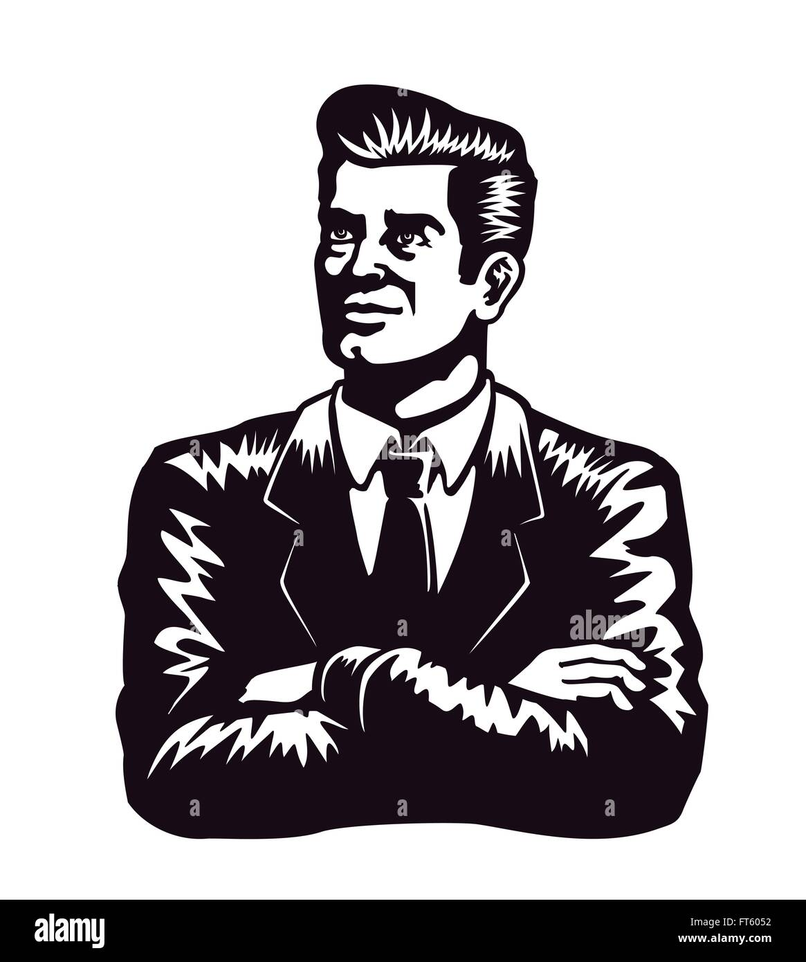 Vintage man in suit and tie with arms crossed and self-confident expression vector illustration on white background - Stock Image