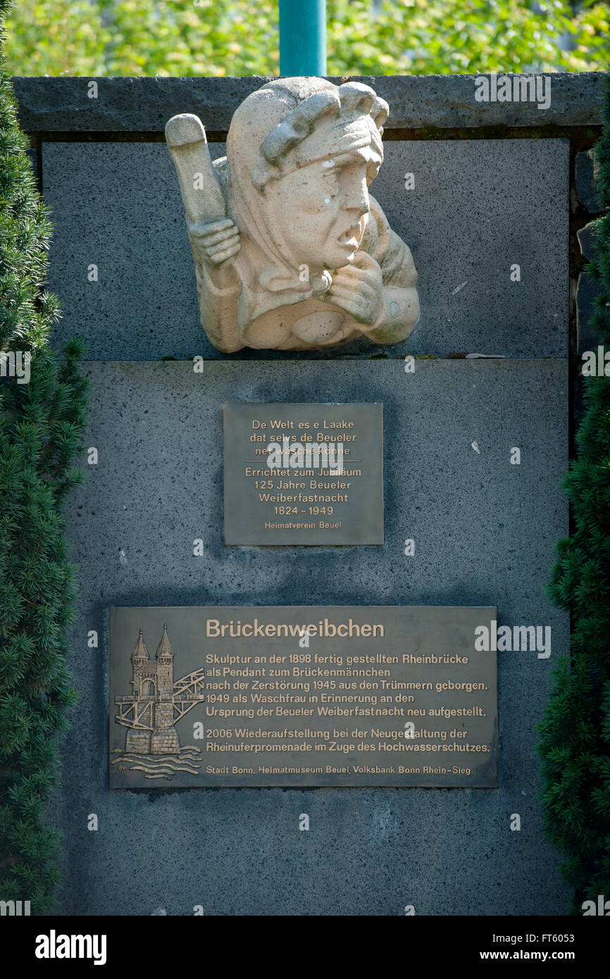 Deutschland, Nordrhein-Westfalen, Bonn, Bonn-Beuel, Rheinpromenade, Brückenweibchen - Stock Image