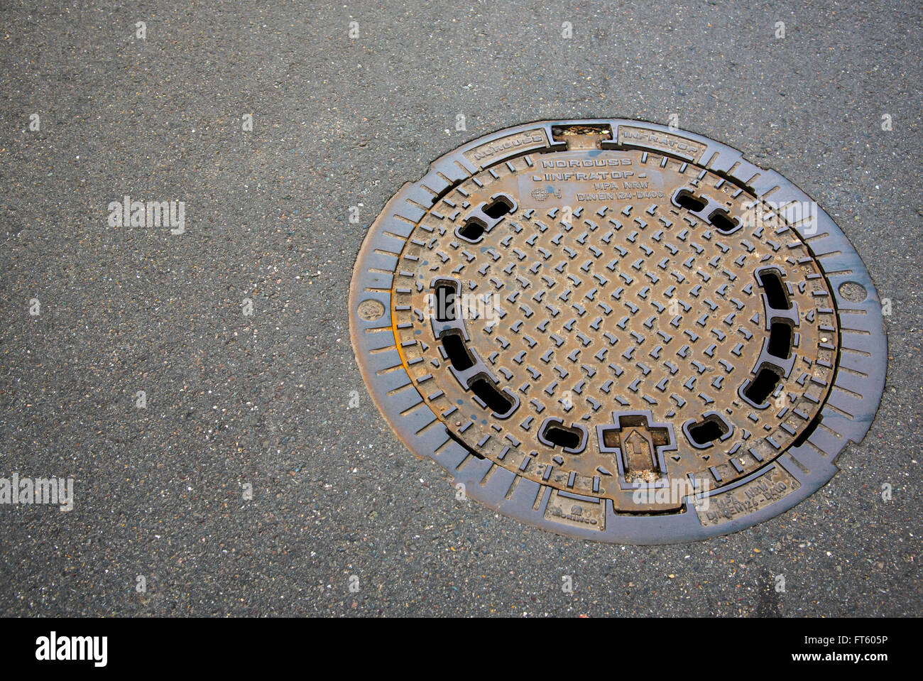 Manhole Cover On Garden Pavement   Stock Image