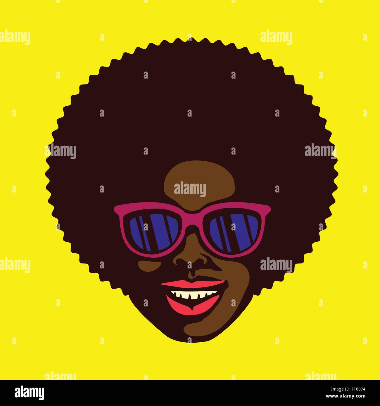 Smiling Groovy Cool Dude Face Black Man With Afro Hair