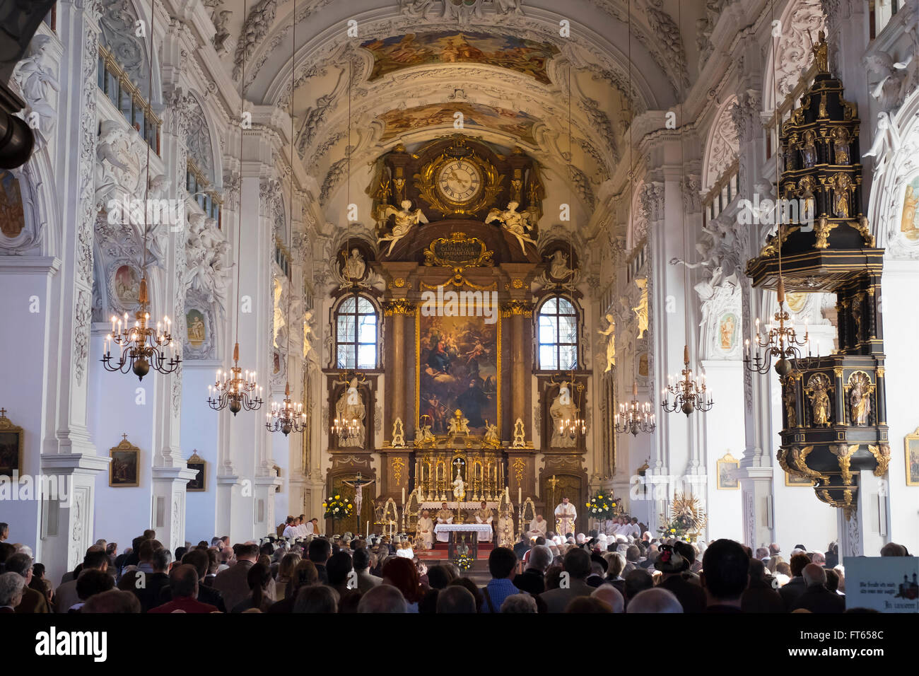 Leonhardi mass at the Basilica of St. Benedict, Benediktbeuern, Upper Bavaria, Bavaria, Germany - Stock Image