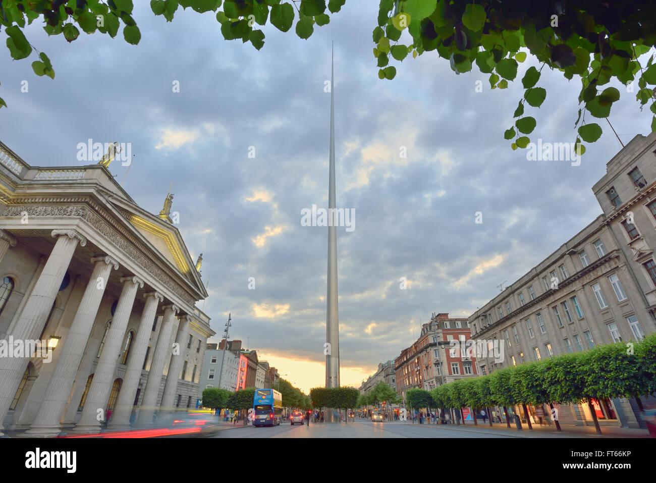 Spire in Dublin, Ireland in summer time - Stock Image