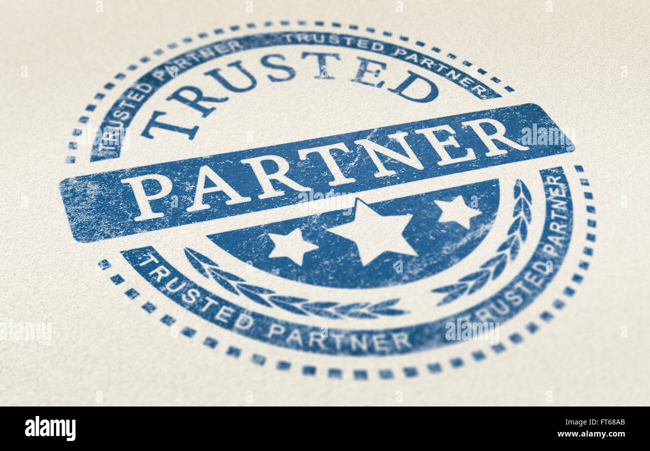 Trusted partner mark imprinted on a paper texture. Concept background for illustration of trust in partnership and - Stock Image