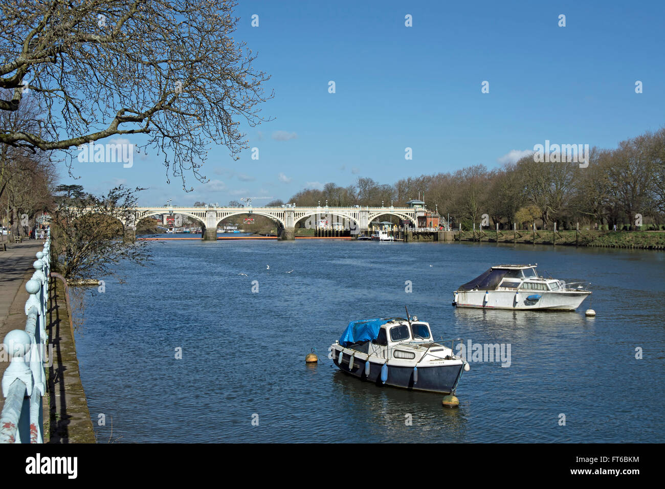 view across the river thames towards richmond lock from st margarets, on the twickenham side Stock Photo