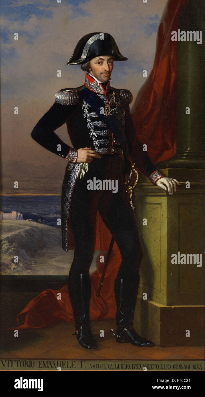 Portrait of Vittorio Emanuele I - La Venaria Reale - Stock Image