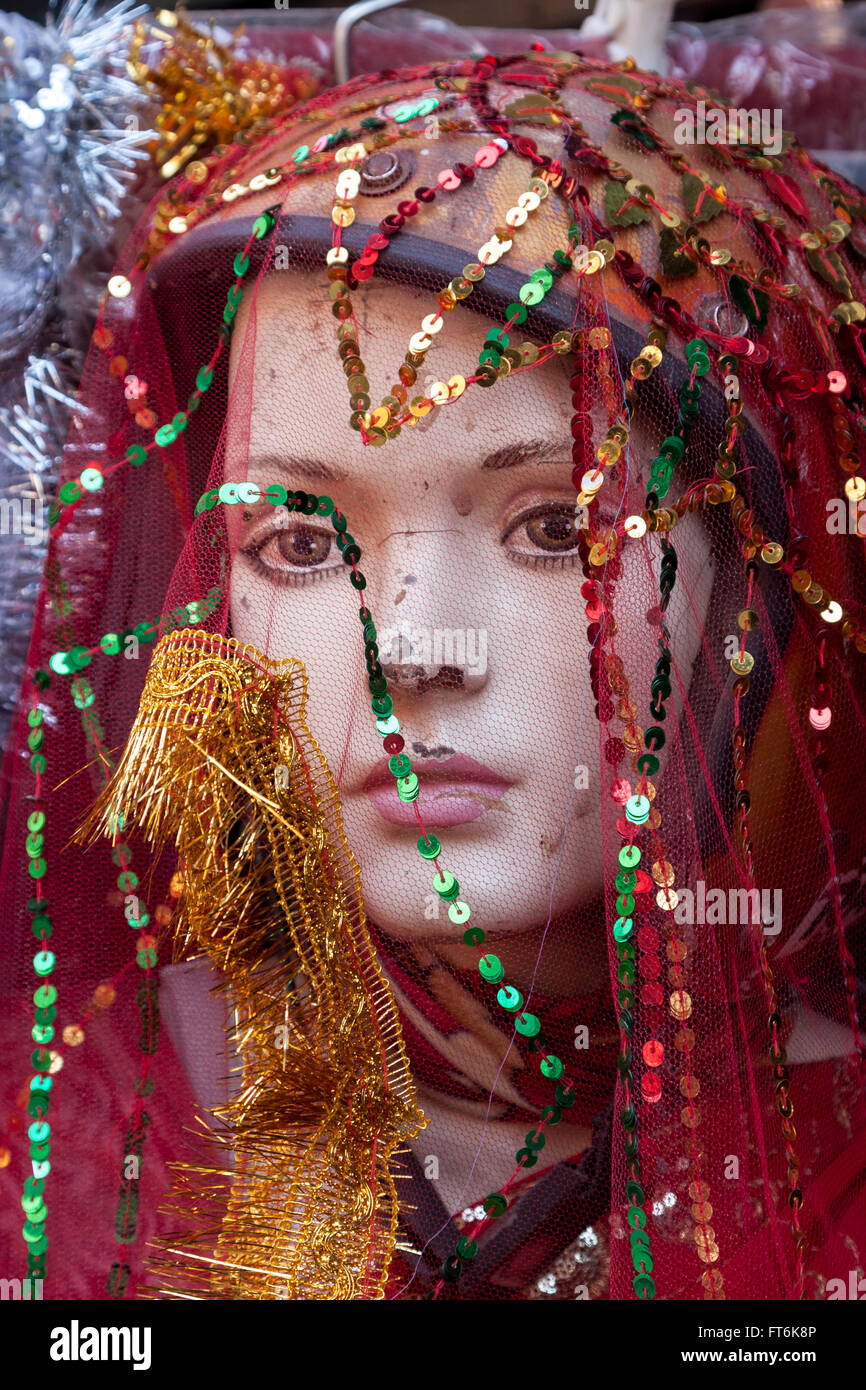 Nepal, Kathmandu.  Veiled Mannequin, Showing Signs of Wear and Tear. Stock Photo
