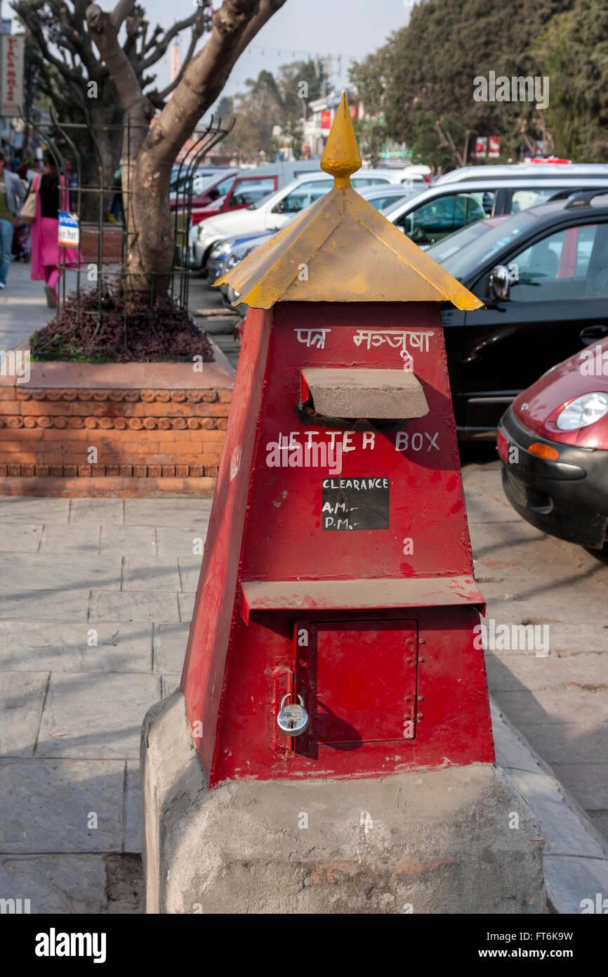Nepal, Kathmandu.  Mail Box, Durbar Marg Street. - Stock Image