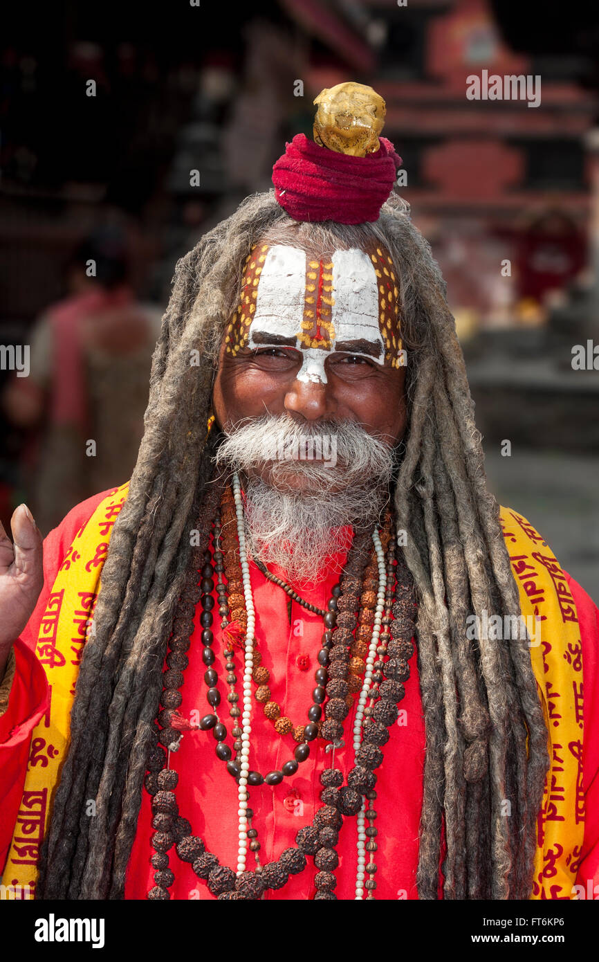 Nepal, Kathmandu.  A Sadhu (Hindu Ascetic) in Durbar Square.  Trident marks him as a devotee of Shiva. - Stock Image