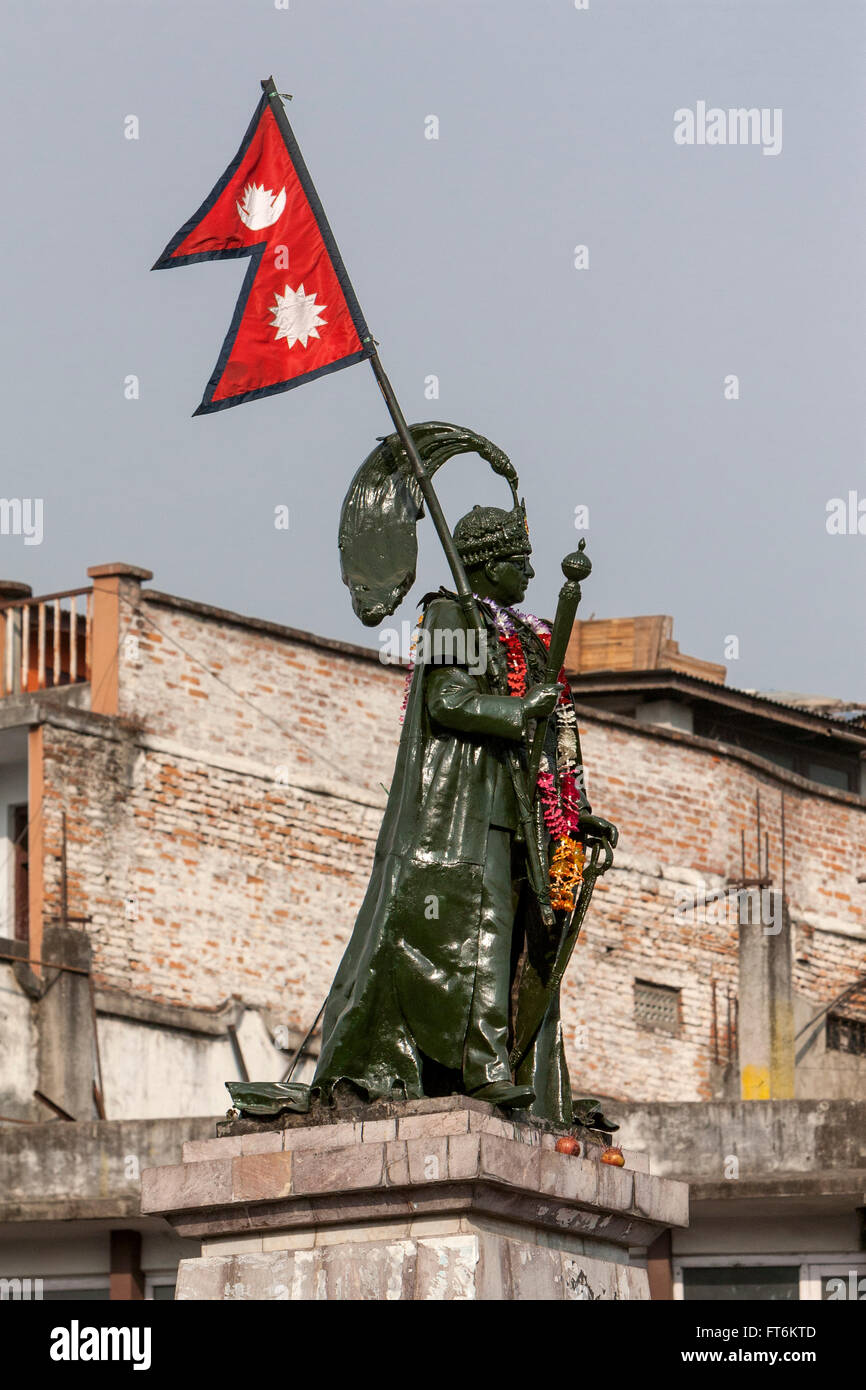 Nepal, Kathmandu.  King Mahendra Statue, Durbar Marg Roundabout. - Stock Image