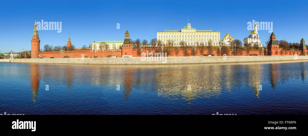 Panoramic view of Moscow Kremlin on a Sunny day, Russia - Stock Image