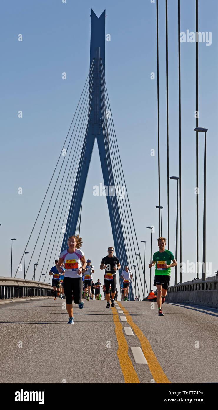 Runners at the Köhlbrandbrückenlauf 2015 race, Hamburg, Germany, Europe Stock Photo