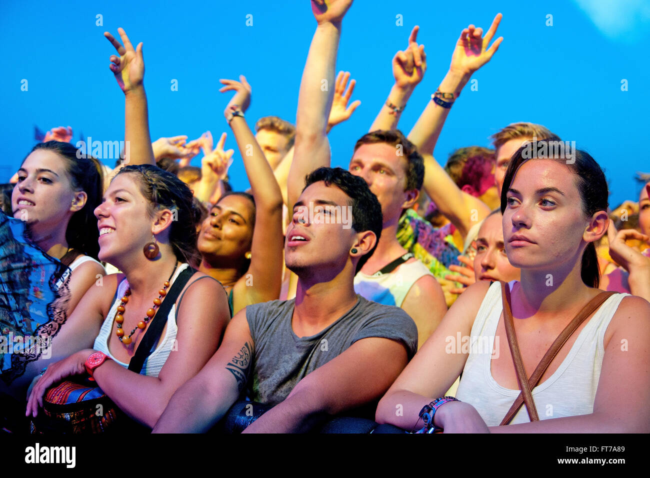 BENICASSIM, SPAIN - JULY 19: Crowd (fans) at FIB (Festival Internacional de Benicassim) 2013 Festival. - Stock Image