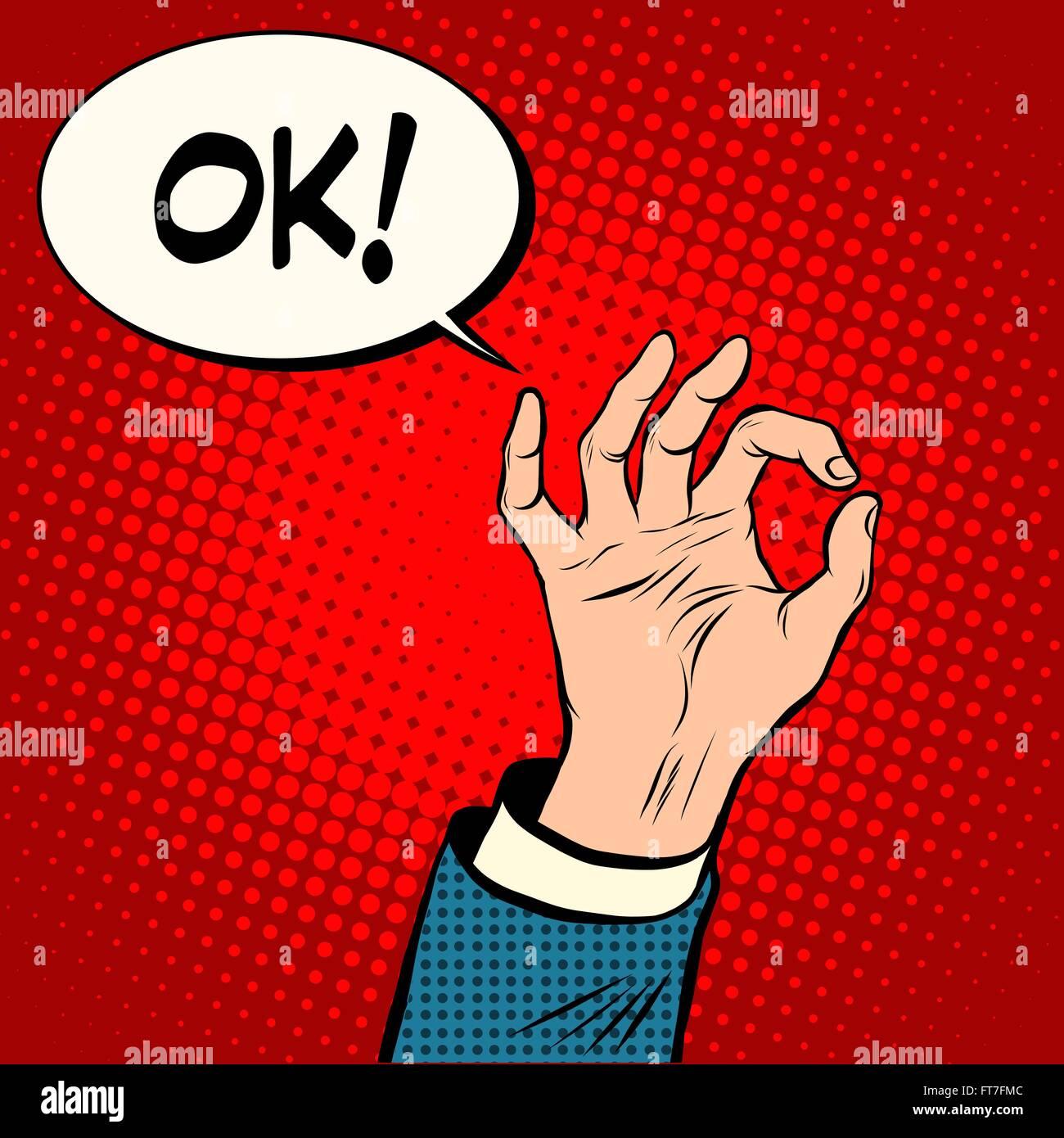 Hand OK gesture business concept - Stock Vector