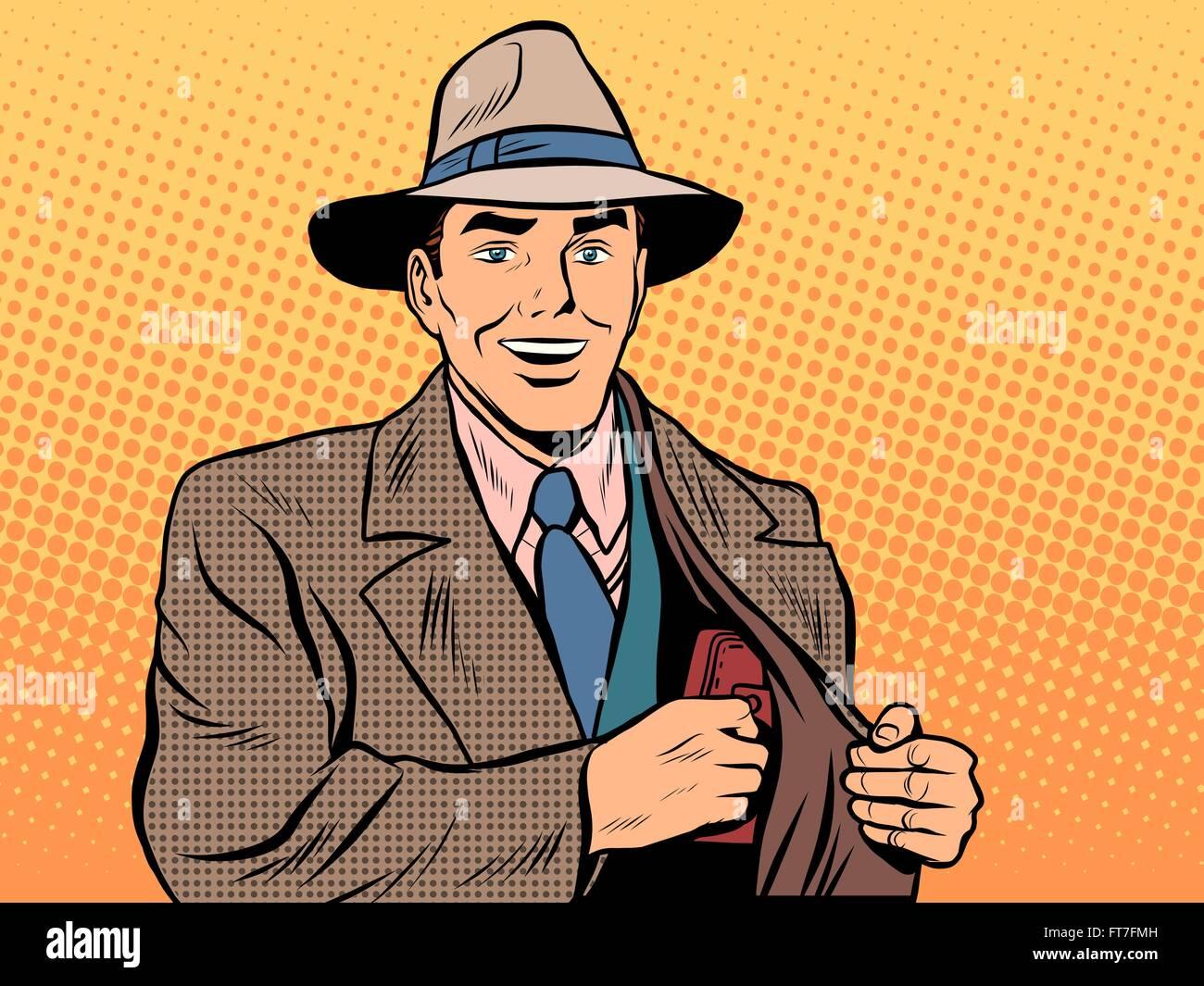 The purse money male businessman - Stock Vector