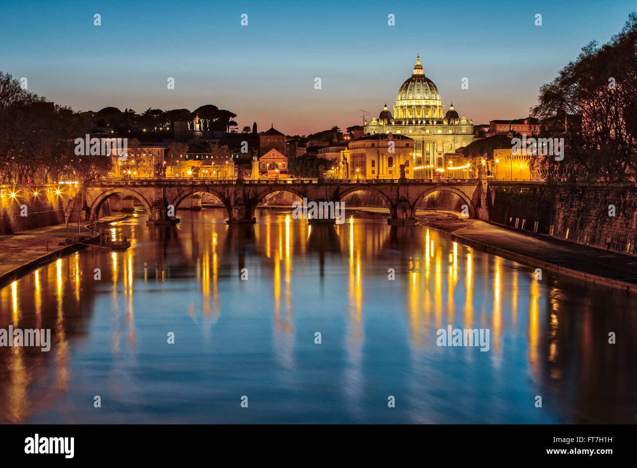 Saint Peter's Basilica in Vatican City State at Night. - Stock Image