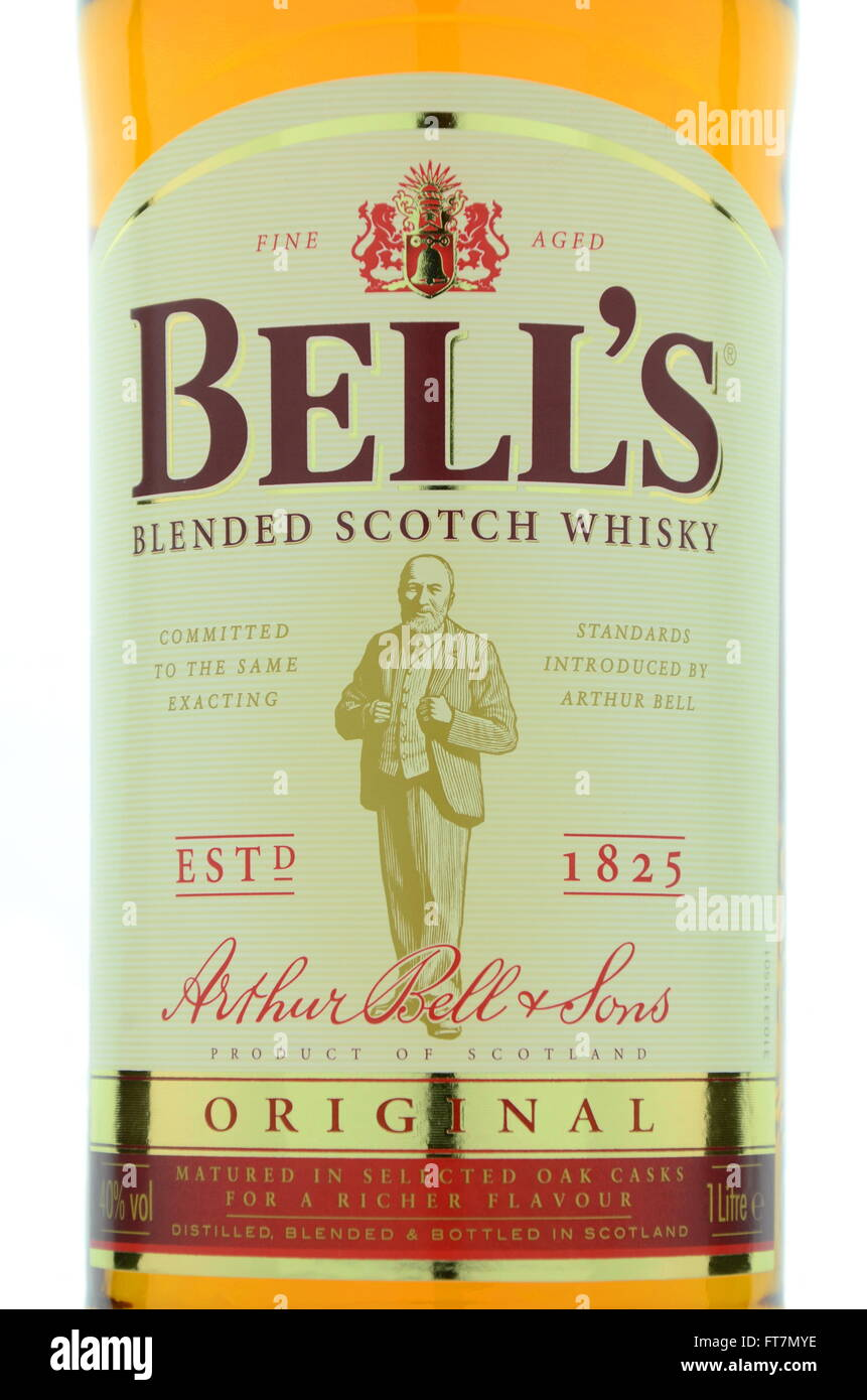 Bells whisky isolated on white background. Stock Photo