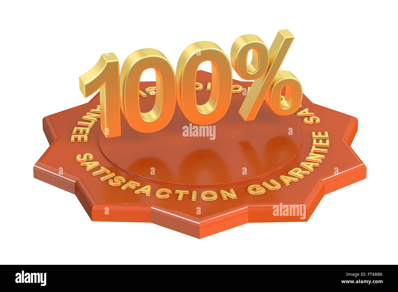 Satisfaction Guarantee 100%, 3D rendering isolated on white background - Stock Image