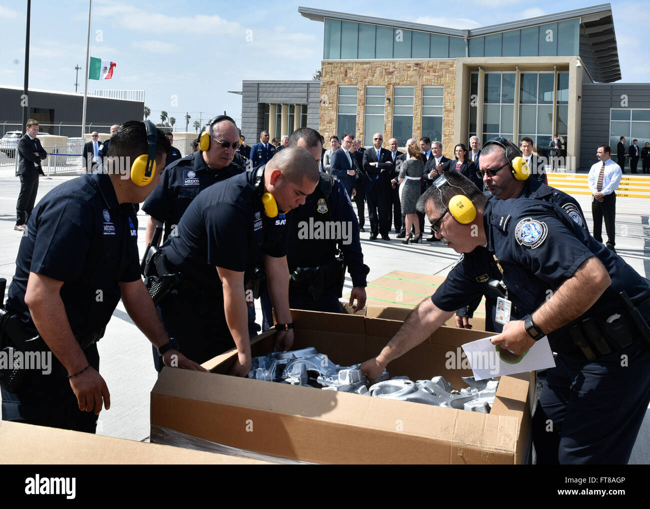 CBP and Mexican customs officers perform joint inspections of cargo at Laredo International Airport.  (Photo by - Stock Image