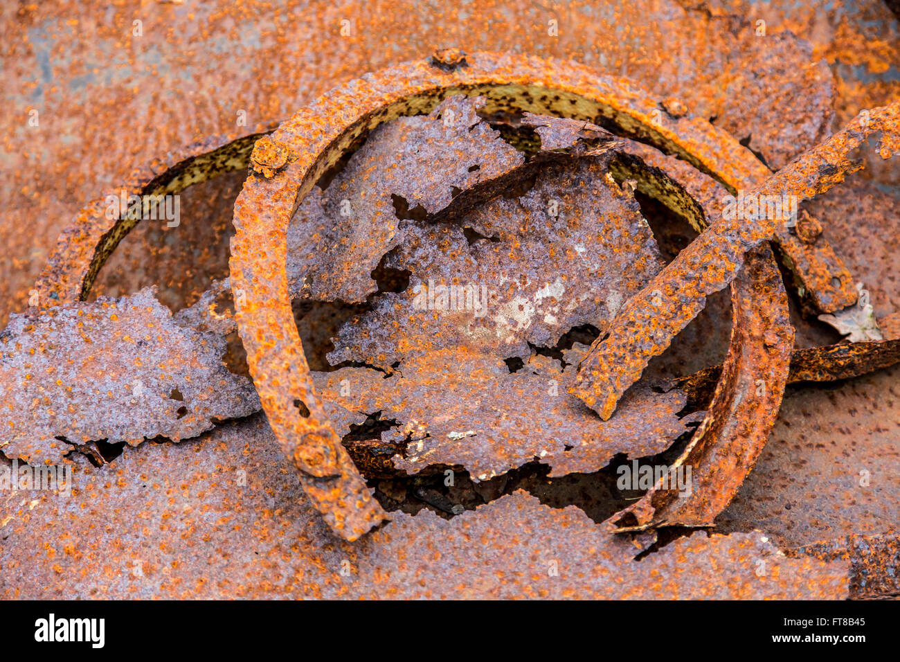 Heavy rusty metal, broken, - Stock Image