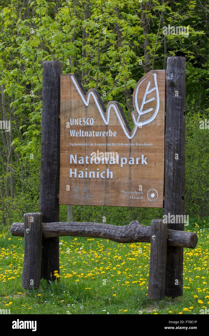 Entrance sign of the Hainich National Park / Nationalpark Hainich, Thuringia / Thüringen, Germany - Stock Image