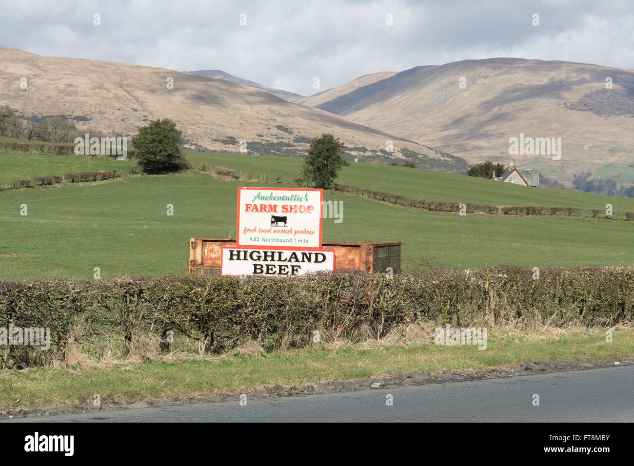 Auchentullich Farm Shop and Highland Beef sign in Loch Lomond and the Trossachs National Park, Scotland just off - Stock Image