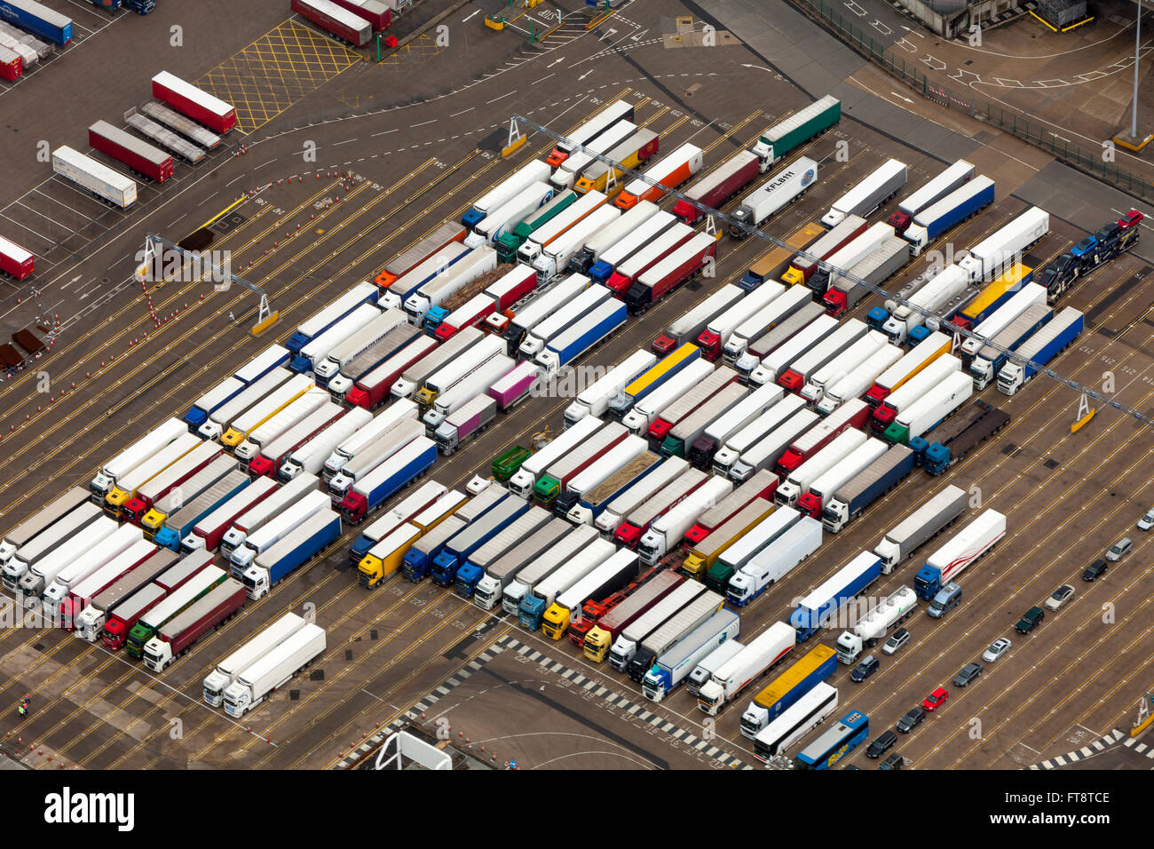 Aerial view of queueing trucks, HGVs, Dover harbour port Kent England Stock Photo