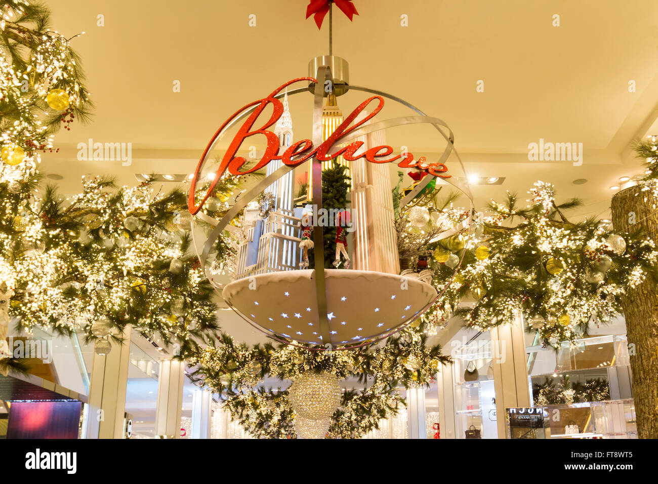 Christmas Sign in department store. - Stock Image