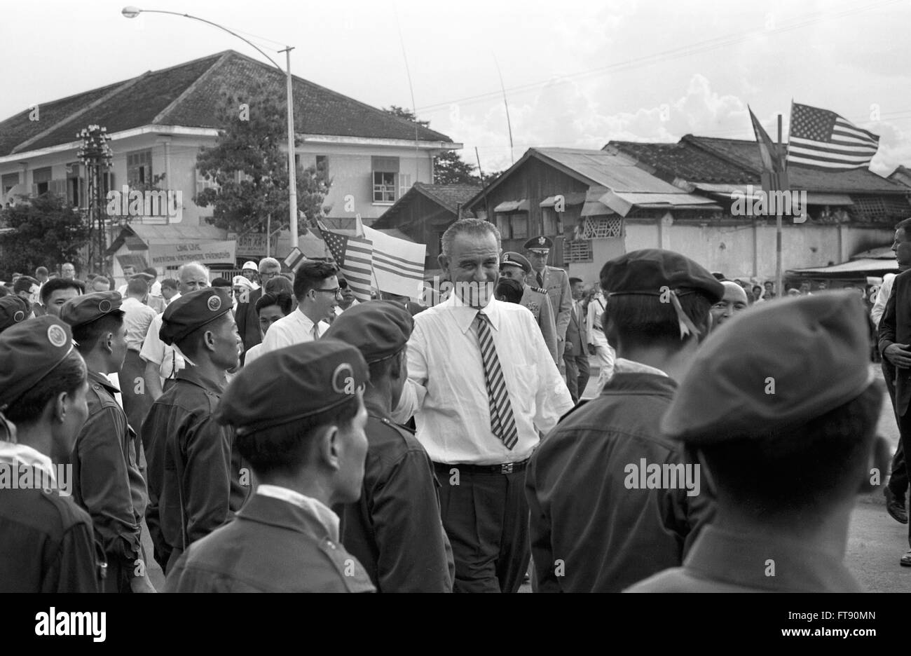 Lyndon B. Johnson in South Vietnam, 1962. - Stock Image