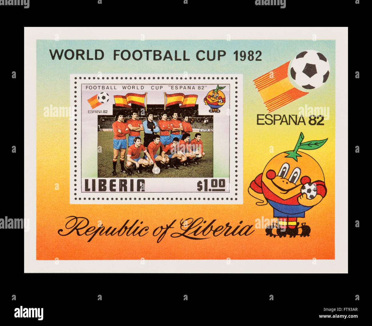 Souvenir sheet from Liberia depicting the Liberian National FOotball team, 1982 World Cup in Spain. - Stock Image