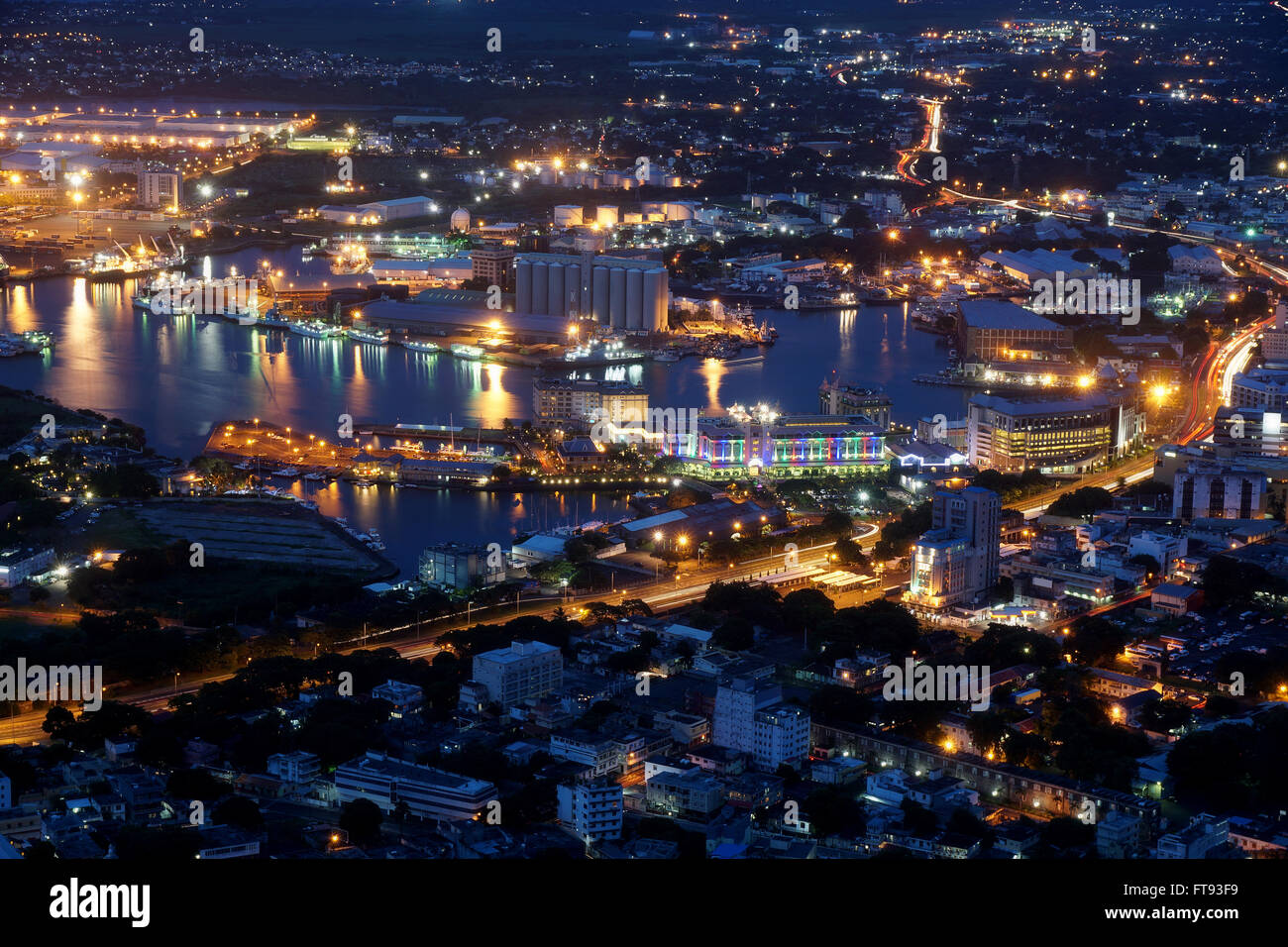 Aerial view of Port-Louis Mauritius at night Stock Photo