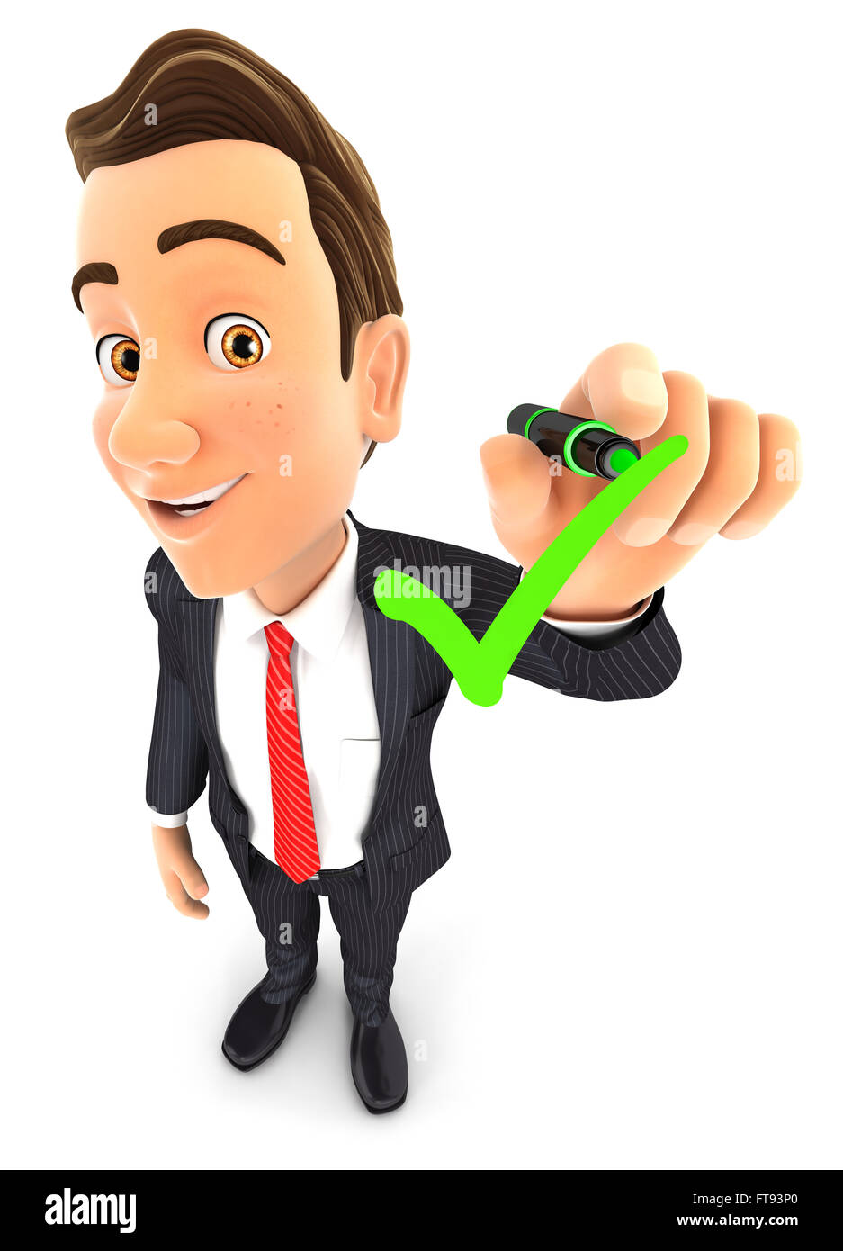 3d businessman drawing positive check mark, isolated white background Stock Photo