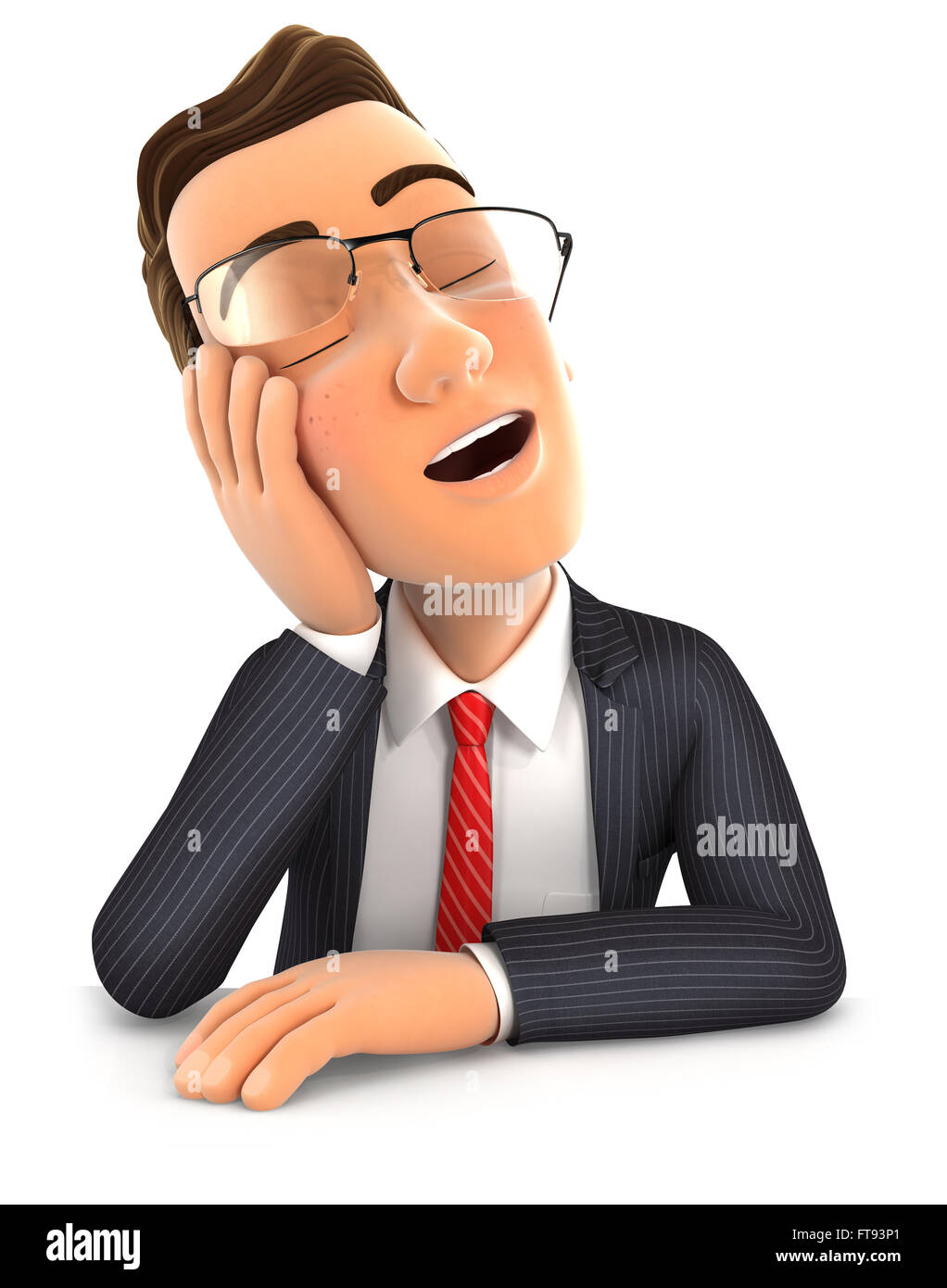 3d businessman fell asleep leaning on his hand, isolated white background Stock Photo