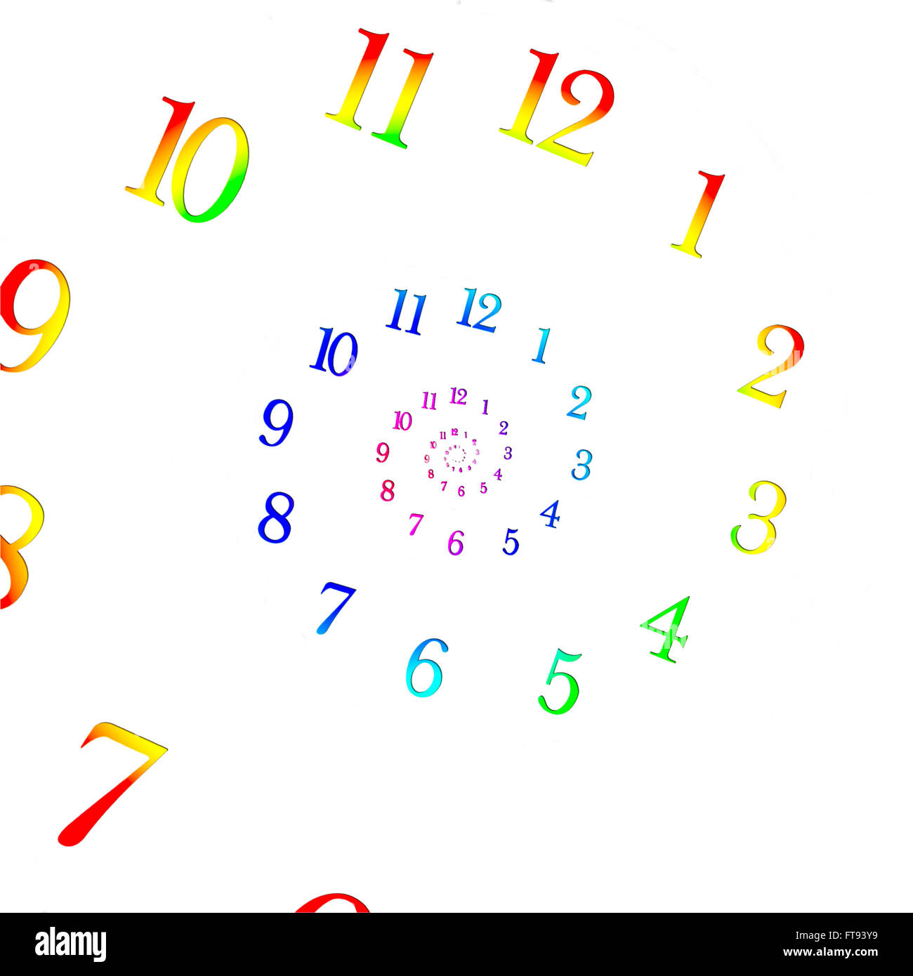 Rainbow coloured dial shrinking to infinity. Time Warp - Time Dilation. Quantum mechanics meets general relativity. - Stock Image