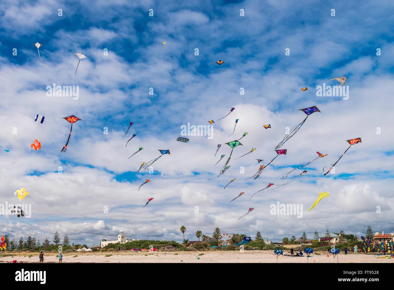 Adelaide, Australia - March 26, 2016: Adelaide International Kite Festival at Semaphore Beach. 2016 Festival iinternational - Stock Image