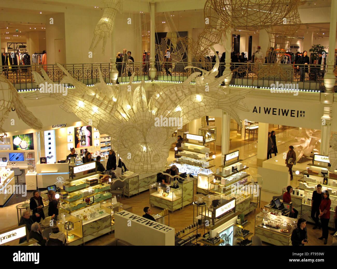 Heluo by Ai Weiwei exhibition Er Xi,Air de jeux in Le Bon Marche Department store,Paris,France - Stock Image