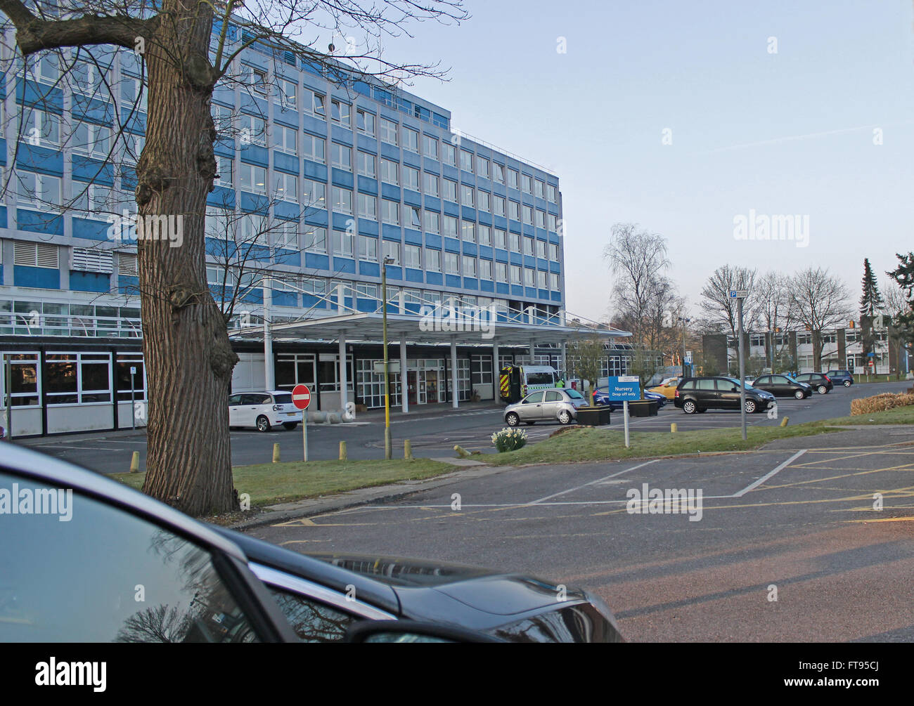 Front view of Crawley Hospital . - Stock Image