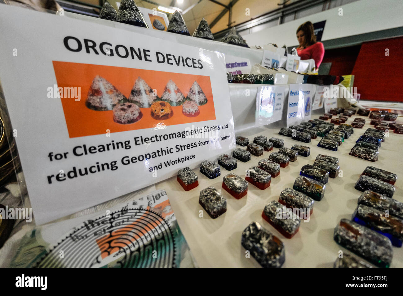 Lisburn, Northern Ireland. 25 Mar 2016 - Orgone Devices on sale at a holistic and spiritual fair.  These are claimed - Stock Image