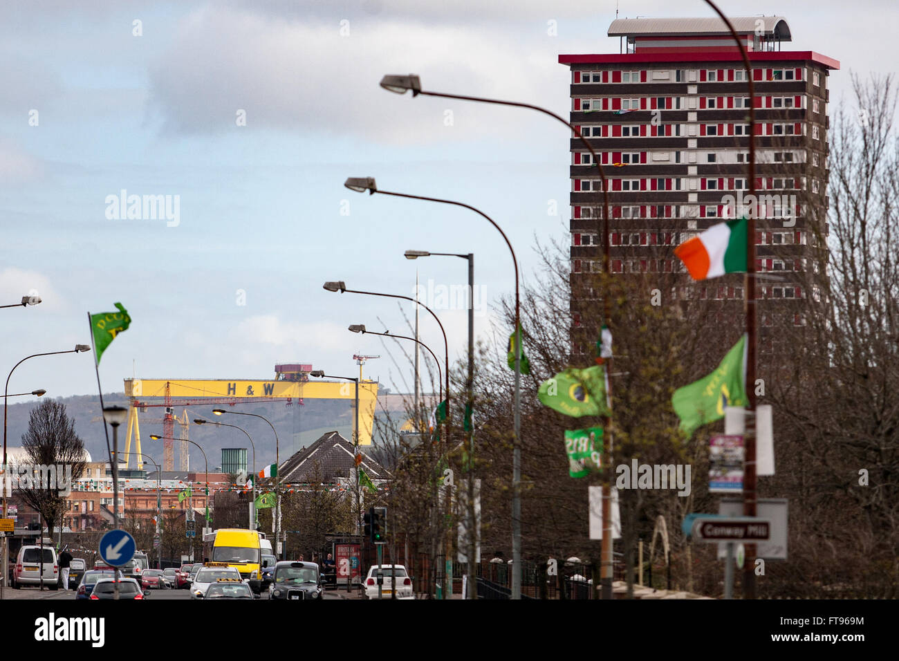 West Belfast, Ireland. 25th March, 2016. A view of the Harland and Wolfe Crane Samson in East Belfast with Divis - Stock Image