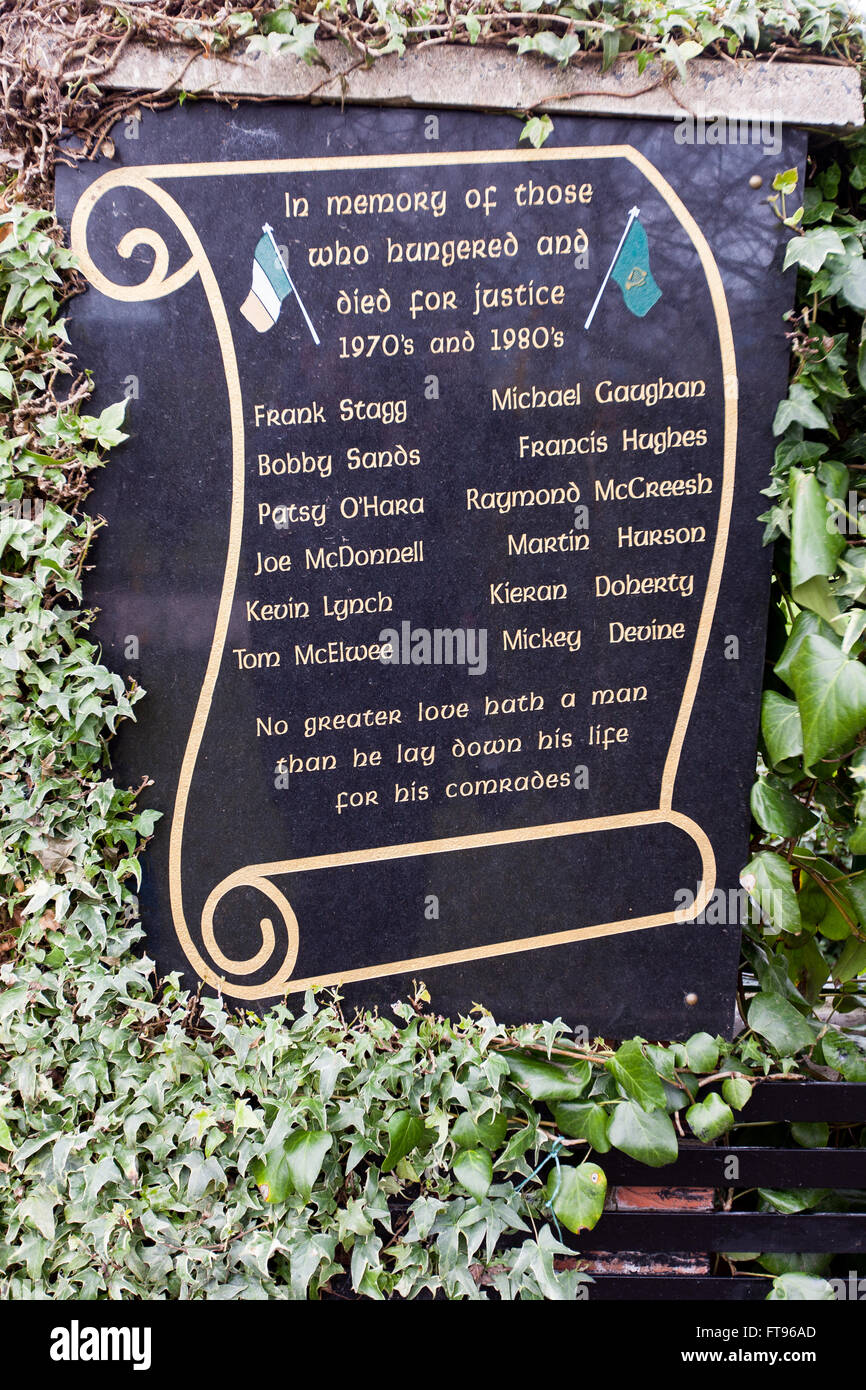 West Belfast, Ireland. 25th March, 2016. The names of twelve volunteers of the IRA and INLA who died on Hunger Strike - Stock Image